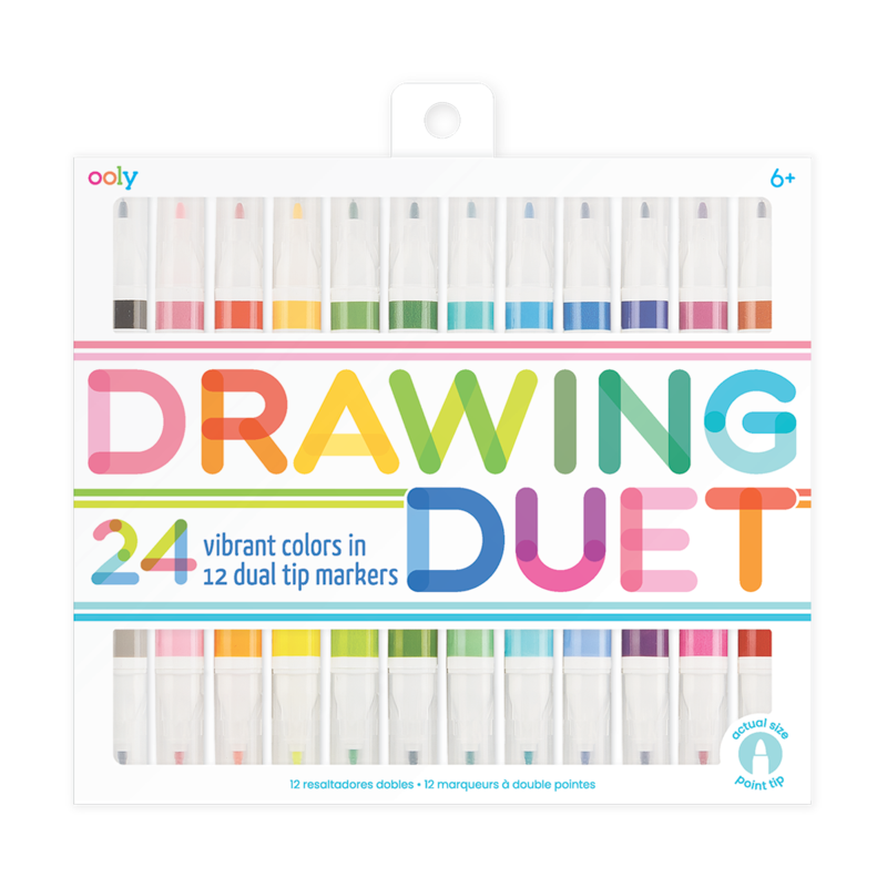 DRAWING DUET DOUBLE ENDED MARKERS-SET OF 12